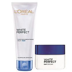 Bộ Đôi Kem Dưỡng Ngày Và Sữa Rửa Mặt White Perfect Dewy L'oreal 50ml