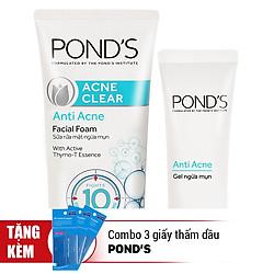 Combo Sữa Rửa Mặt Ngừa Mụn Pond's Acne Clear (100g) - 21088551 + Gel Ngừa Mụn Pond's Acne Clear Tuýp 20g