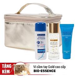 Combo Travel Kit Bio-Essence: Xịt Khoáng Miracle Water (30ml) + Gel Tẩy Tế Bào Chết Deg (10g) + Tinh Chất Bio Gold (30ml) - Tặng Kèm Túi Make Up Gold