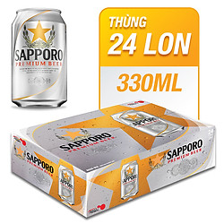 Thùng 24 Lon Bia Sapporo Premium (330ml)