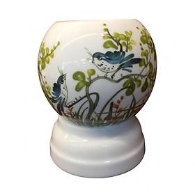 Đèn xông tinh dầu Bát Tràng họa tiết chim xanh