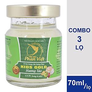 Hình đại diện sản phẩm Combo 3 Lọ Tổ Yến Chưng Sẵn Đường Phèn Yến Sào Phan Việt Kids Nest Gold Hương Táo (70ml / Lọ)