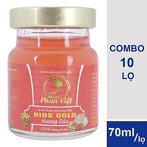 Hình đại diện sản phẩm Combo 10 Lọ Tổ Yến Chưng Sẵn Đường Phèn Yến Sào Phan Việt Kids Nest Gold Hương Dâu (70ml / Lọ)