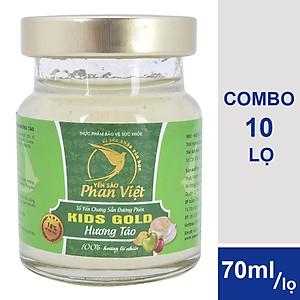 Hình đại diện sản phẩm Combo 10 Lọ Tổ Yến Chưng Sẵn Đường Phèn Yến Sào Phan Việt Kids Nest Gold Hương Táo (70ml / Lọ)