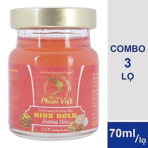 Hình đại diện sản phẩm Combo 3 Lọ Tổ Yến Chưng Sẵn Đường Phèn Yến Sào Phan Việt Kids Nest Gold Hương Dâu (70ml / Lọ)