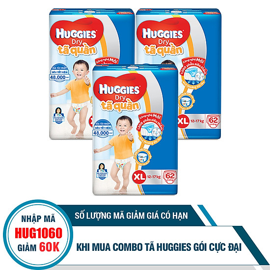Combo 3 Gói Tã Quần Huggies Dry Gói Cực Đại XL62 (62 Miếng) - Bao Bì Mới