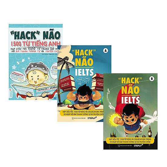 """COMBO """"Hack não 1500 từ tiếng Anh"""" + """"Hack não IETLS"""" (Trọn bộ 3 cuốn)"""