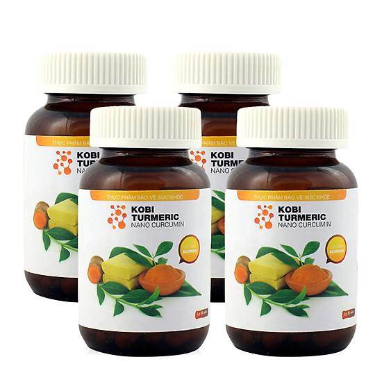 Hình đại diện sản phẩm Combo 4 lọ thực phẩm chức năng tinh bột nghệ Kobi Turmeric Nano Curcumin 30 viên/lọ