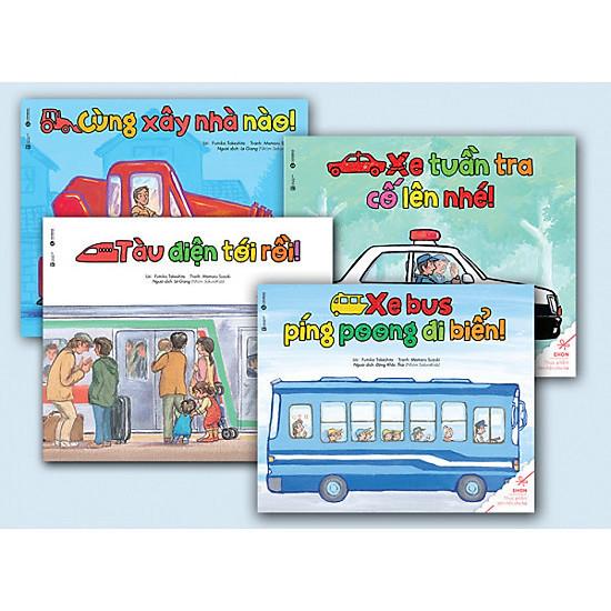 Sách Ehon - Bộ về các phương tiện giao thông ( 4 cuốn)