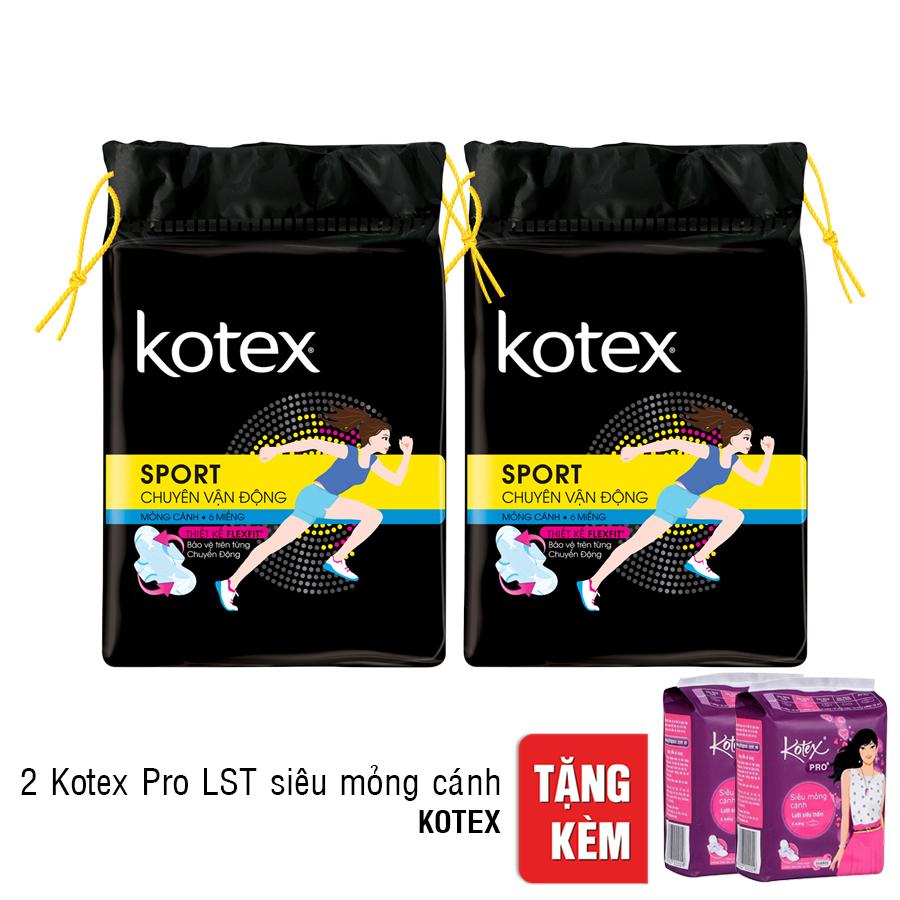 Combo 2 Băng Vệ Sinh Kotex Sport Siêu Mỏng Cánh - Tặng 2 Kotex Pro LST Siêu Mỏng Cánh