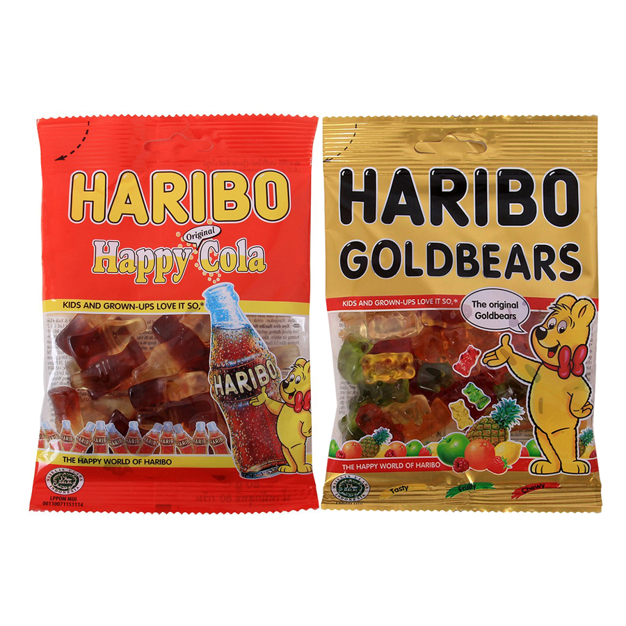 Combo Kẹo Dẻo Haribo 1: Goldbears (80g) + Happy Cola (80g)