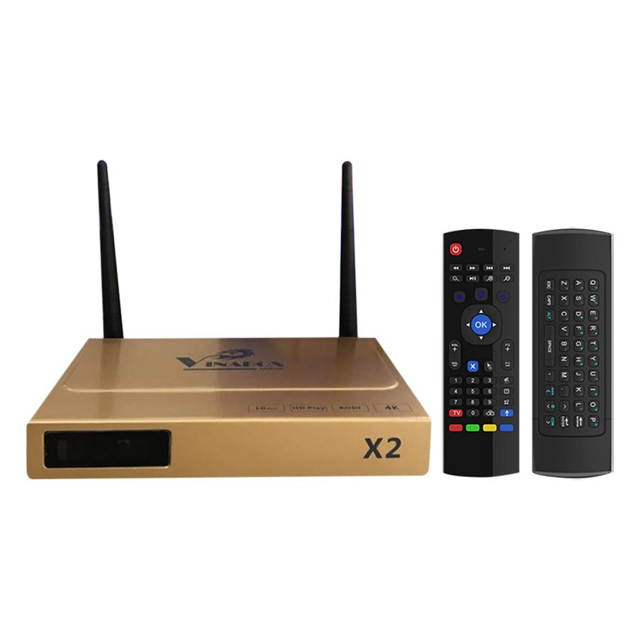 Android TV Box Vinabox X2 - Vàng Và Chuột Bay Airmouse - Hàng Chính Hãng