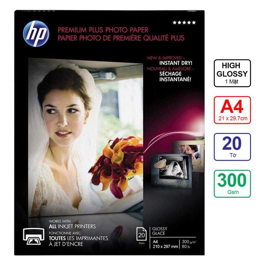Giấy In Ảnh HP Premium Plus Glossy A4 300gms 20 Tờ