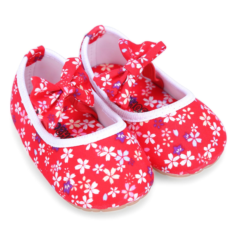 Giày Búp Bê Vải Sơ Sinh Thêu Hoa Yaya GVR - SS - Đỏ (Size 21)