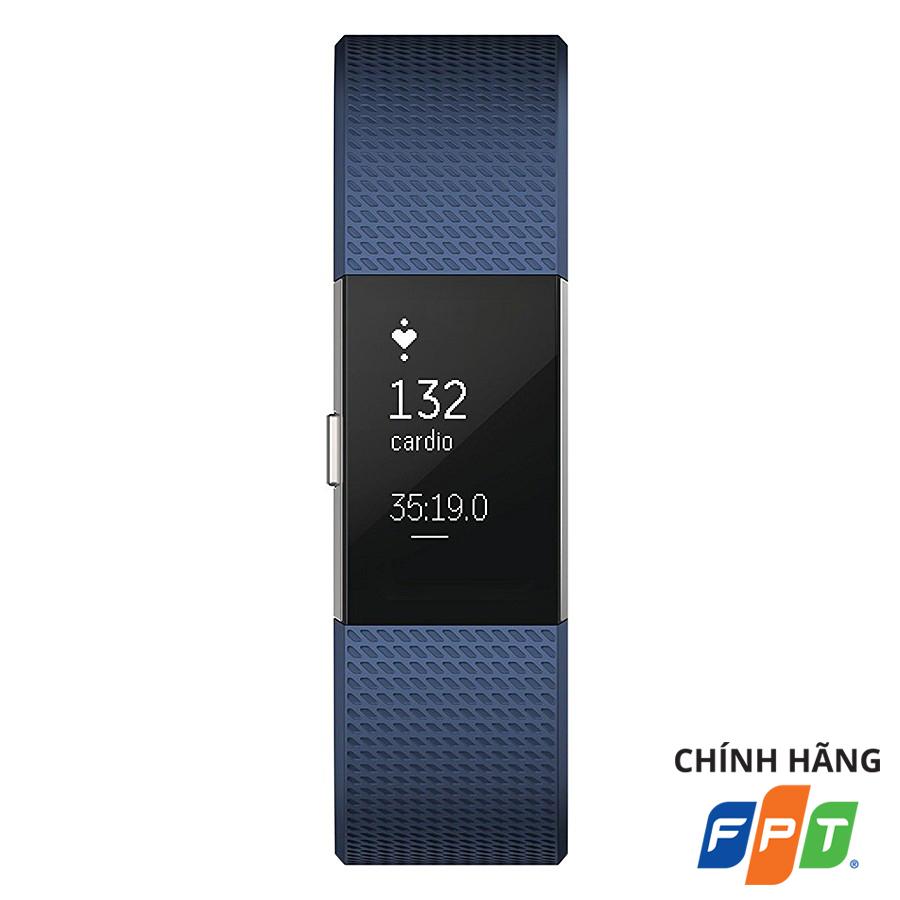 Vòng Đeo Tay Thông Minh Fitbit Charge 2 Blue Silver - Hàng Chính Hãng