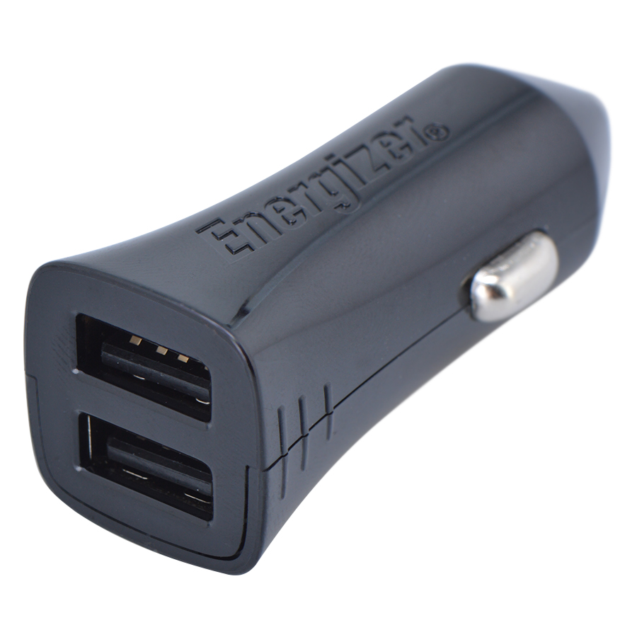 Adapter Sạc Ô Tô 2 Cổng USB Energizer UL 4.8A DCA2DUBK3 - Đen - Hàng Chính Hãng