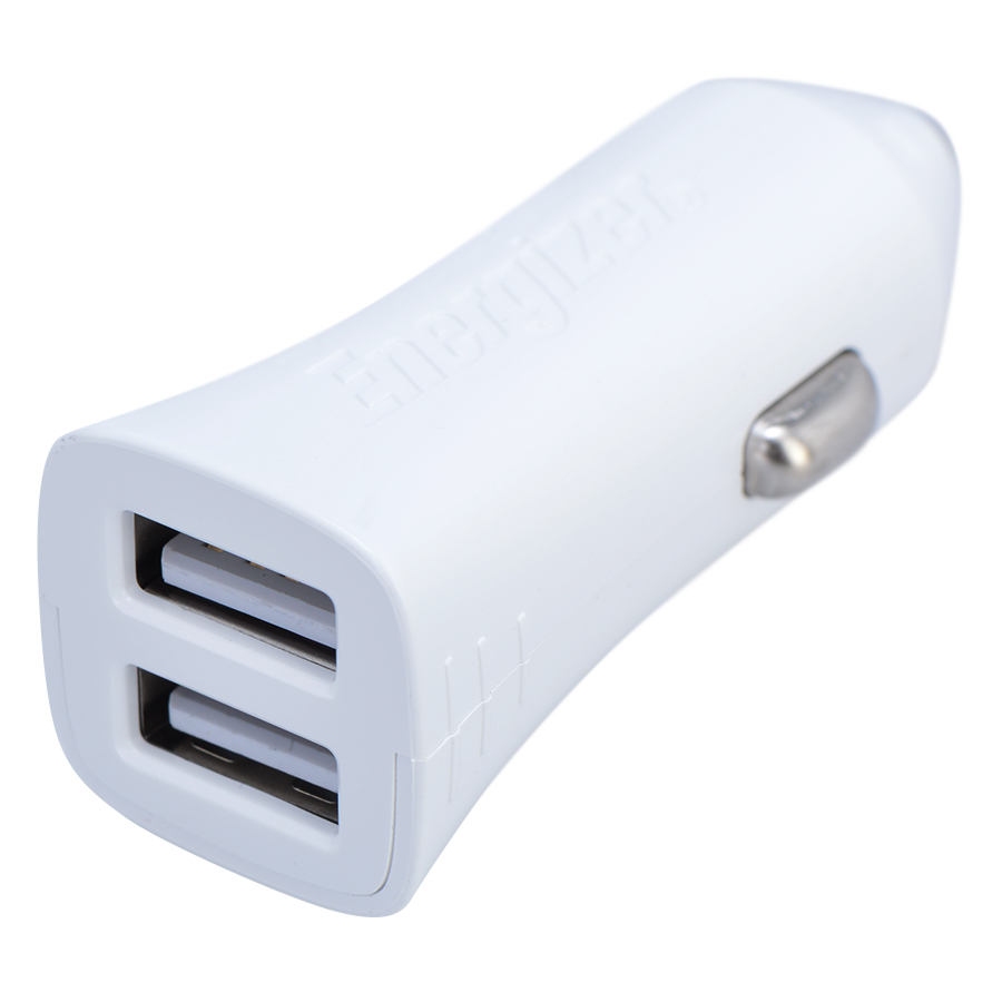 Adapter Sạc Ô Tô 2 Cổng USB Energizer UL 3.4A - Trắng - Hàng Chính Hãng