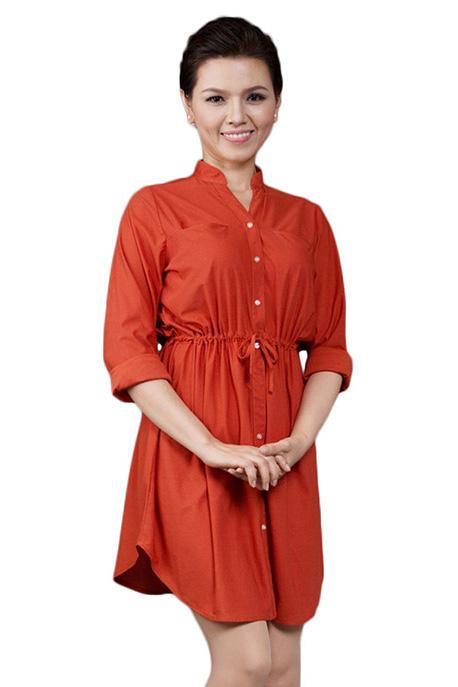 Đầm Cổ Trụ GaiA DA13 - Đỏ Cam