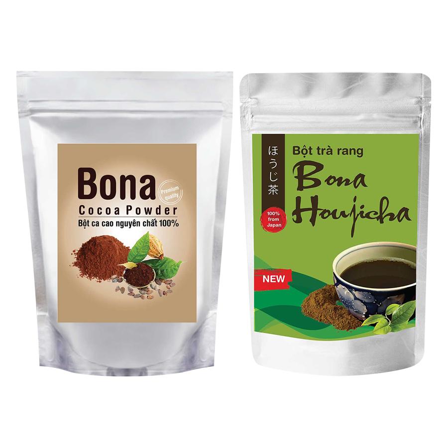 Bộ Bột Cacao Cao Cấp Bona Cacao + Bột Trà Rang Bona Houjicha