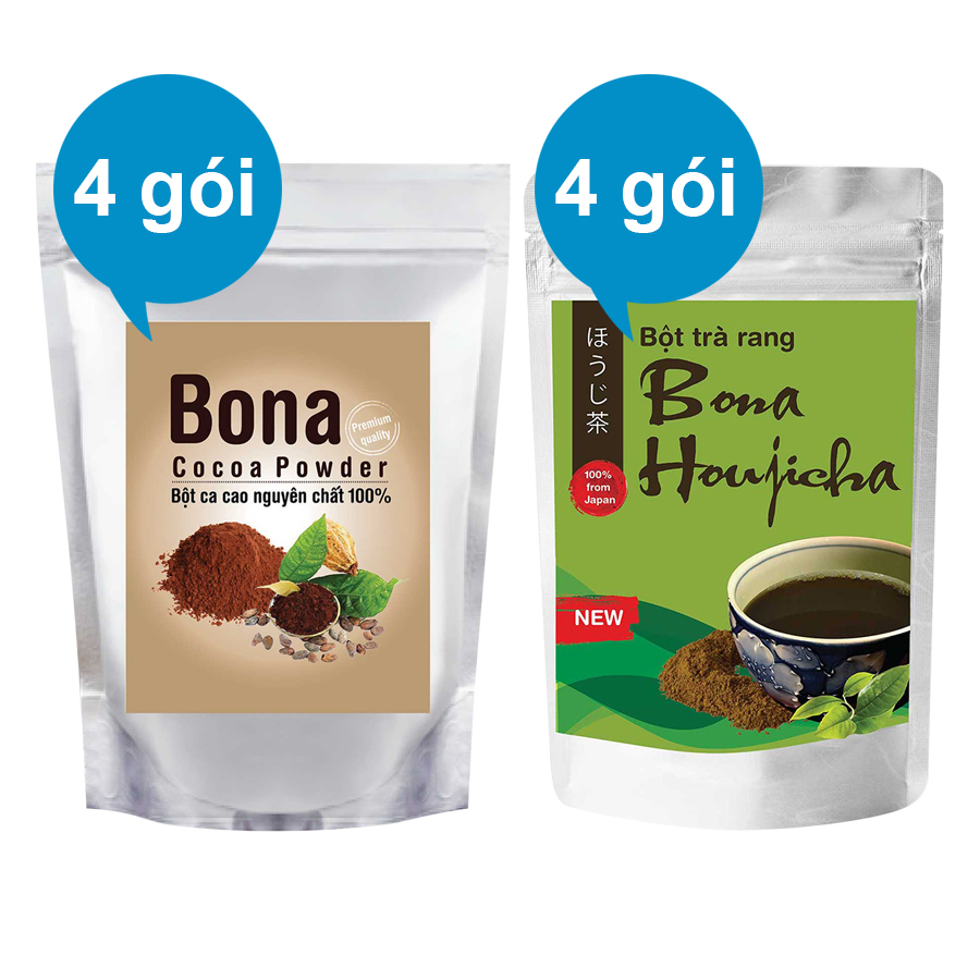 Bộ 4 Bột Cacao Cao Cấp Bona Cacao + 4 Bột Trà Rang Bona Houjicha