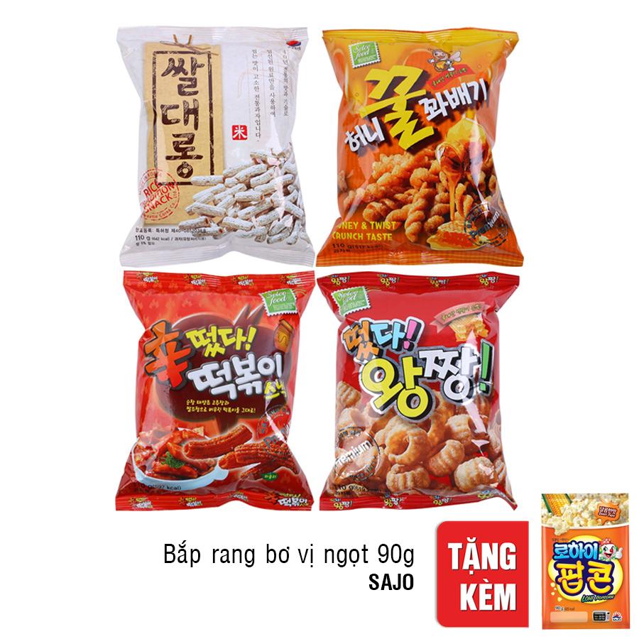 Bộ 4 Bánh Snack Quẩy Hàn Quốc Sam F$G + Gói Bắp Rang Bơ Soja Vị Ngọt