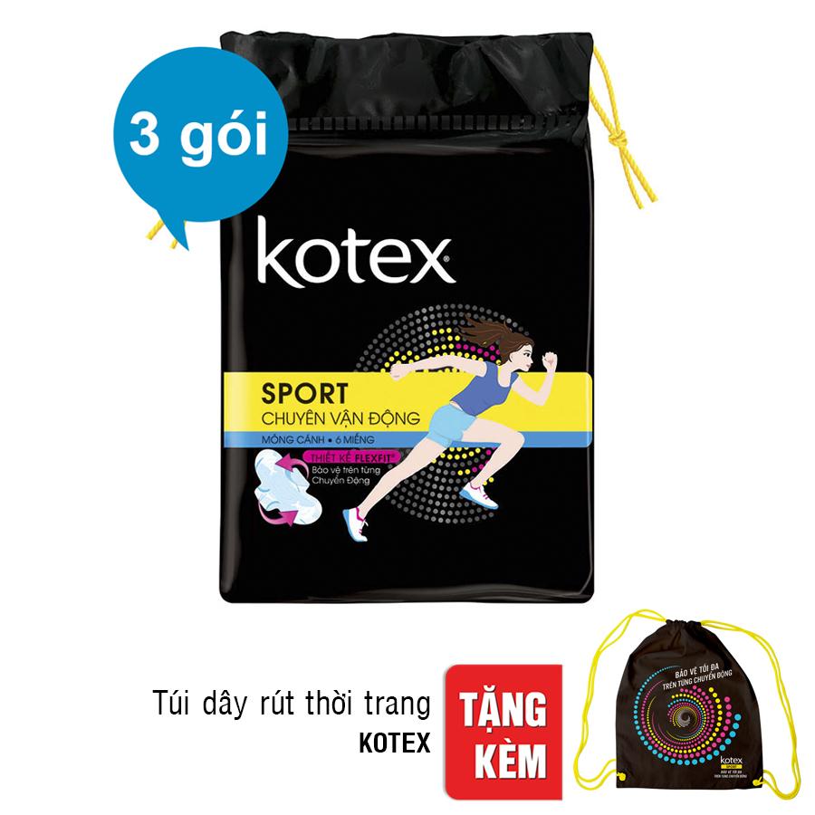 Bộ 3 Gói Kotex Sport Siêu Mỏng Cánh - Tặng Túi Dây Rút Thời Trang
