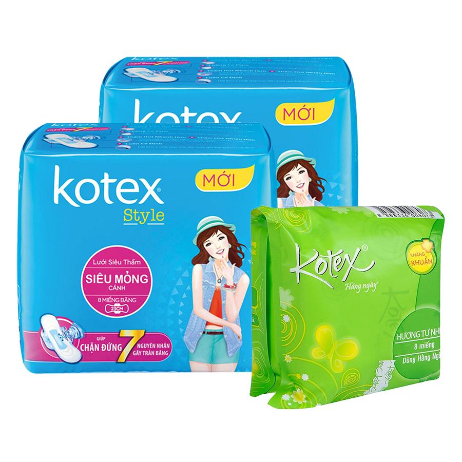 Bộ 2 Gói Kotex Style Siêu Mỏng Cánh (8 Miếng / Gói) + Kotex Liner Kháng Khuẩn (8 Miếng)