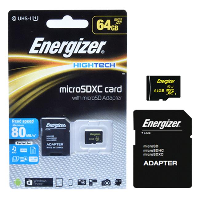 Thẻ Nhớ Energizer 64GB Micro SDXC Class 10 Up To 80mb/s (Kèm Adapter) FMDAAH064A - Hàng Chính Hãng