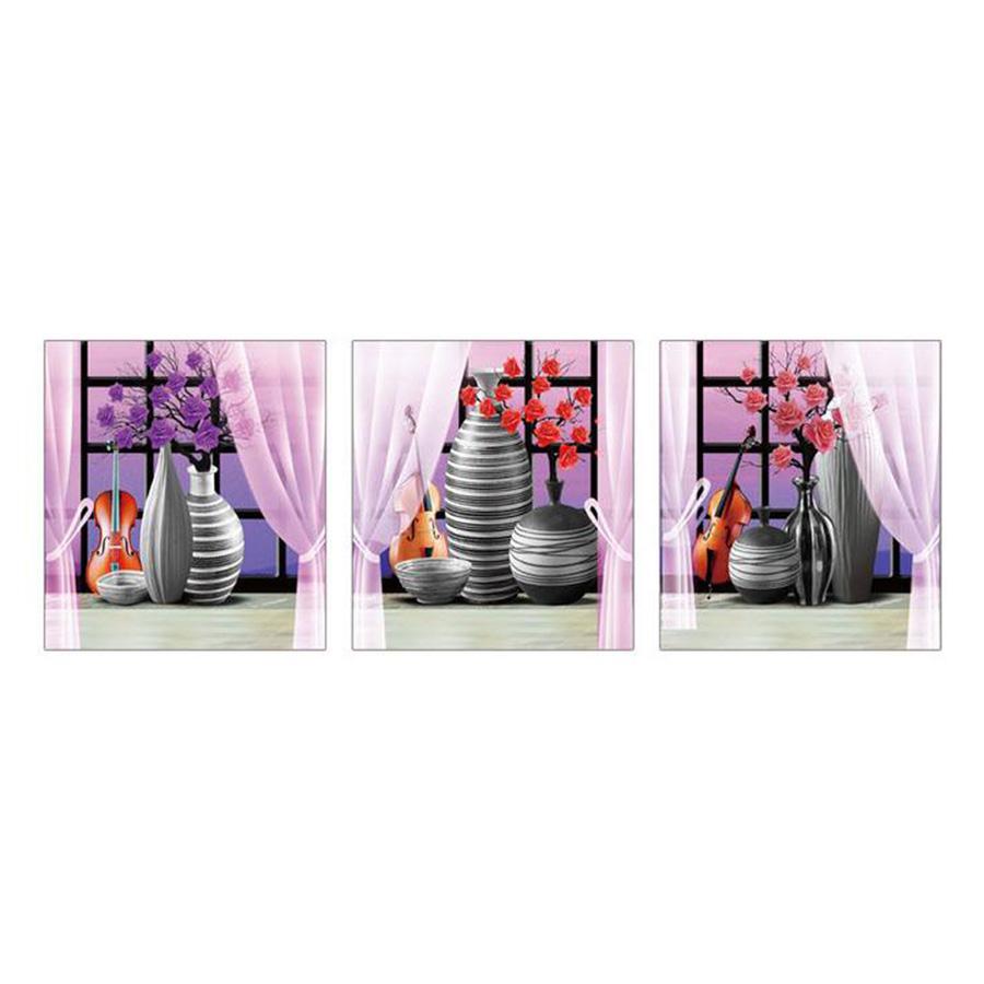 Bộ Decal 3 Tranh Phong Thủy Bình Hoa Tím Lala Shop DC1045 (35 x 100 cm)