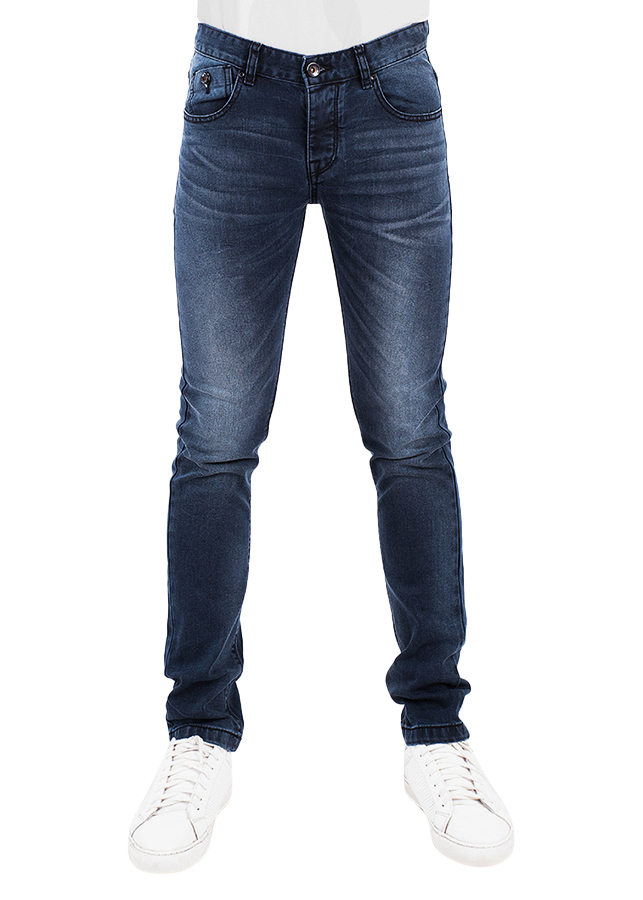 Quần Jeans Nam Skinny Wash Râu Mèo A91 JEANS MSKBS186DK - Xanh Đậm