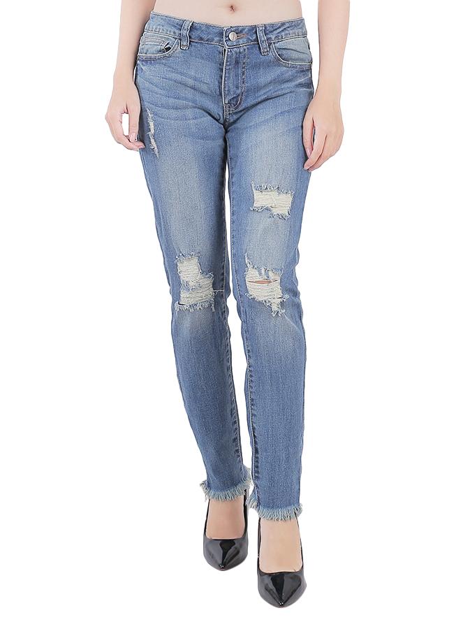 Quần Jeans Nữ Skinny Lai Tua A91 JEANS WSKBS503ME - Xanh
