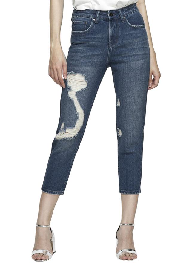 Quần Jeans Nữ Boyfriend Rách Chữ S AAA JEANS BFMVR_S - Xanh Đậm