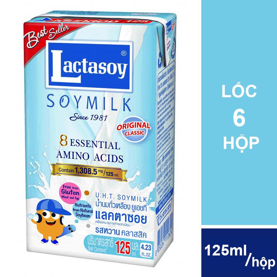 Lốc Sữa Đậu Nành Lactasoy Nguyên Chất (6 Hộp x 125ml)