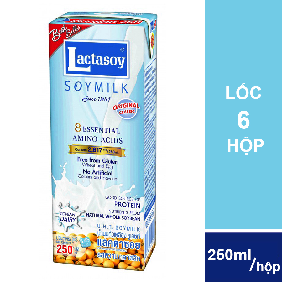 Lốc Sữa Đậu Nành Lactasoy Nguyên Chất (6 Hộp x 250ml)