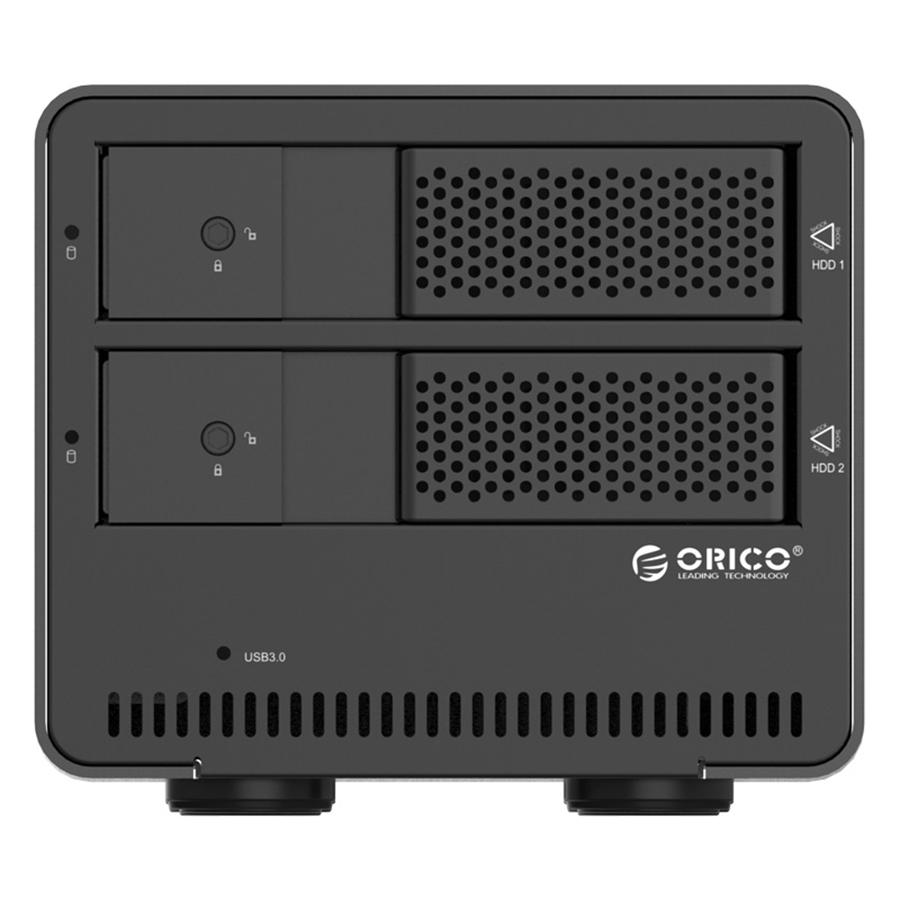 HDD Box 3.5'' 2 Khe Cắm SATA 3 Orico USB 3.0 9528U3 - Hàng Chính Hãng