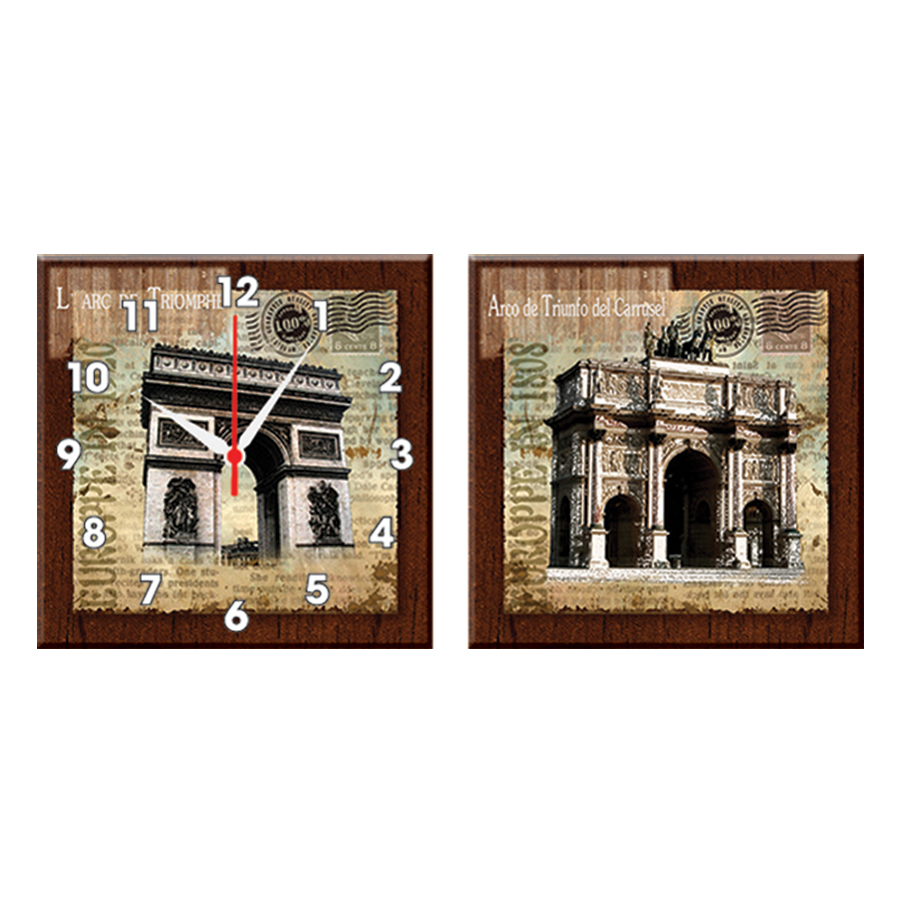 Tranh Đồng Hồ Treo Tường Bộ Đôi Thế Giới Tranh Đẹp Q22-OM-017-DH