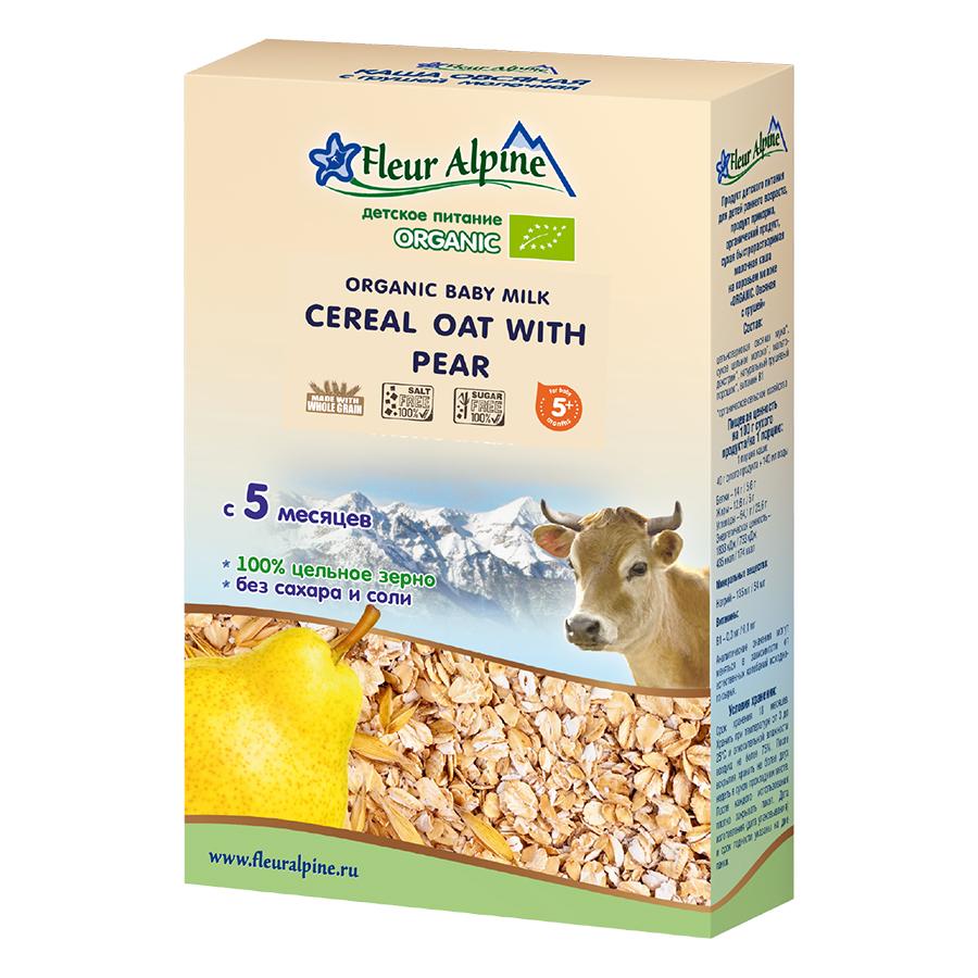 Bột Pha Sữa Organic Yến Mạch Nguyên Cám Và Lê Fleur Alpine (200g)