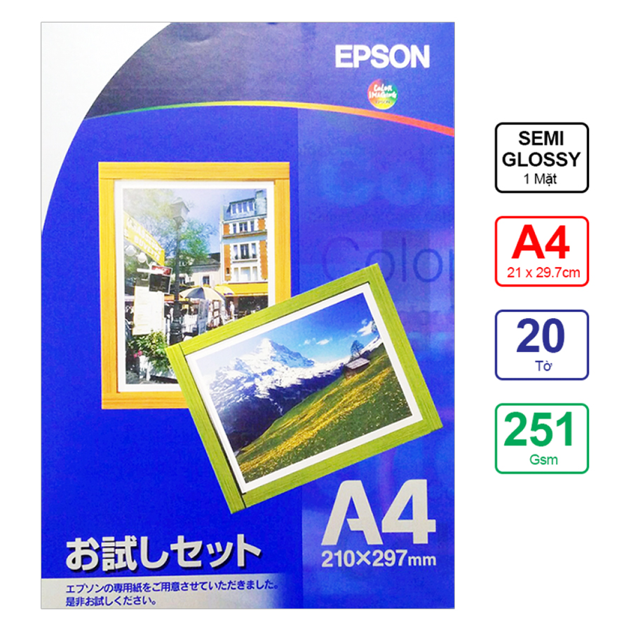 Giấy In Màu Epson 1 Mặt Lụa A4 251gsm 20 Tờ