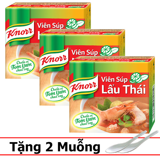 Combo 3 Viên Súp Lẩu Thái Knorr (3x24g) - Tặng 2 muỗng sứ
