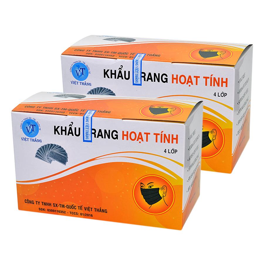 Combo 2 Hộp Khẩu Trang Y Tế Than Hoạt Tính 4 Lớp Việt Thắng 220-02 - Đen