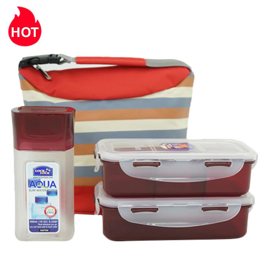 Bộ Túi Hộp Cơm LockLock Stripe Pattern Bag (470 - 470 - 300 ml)