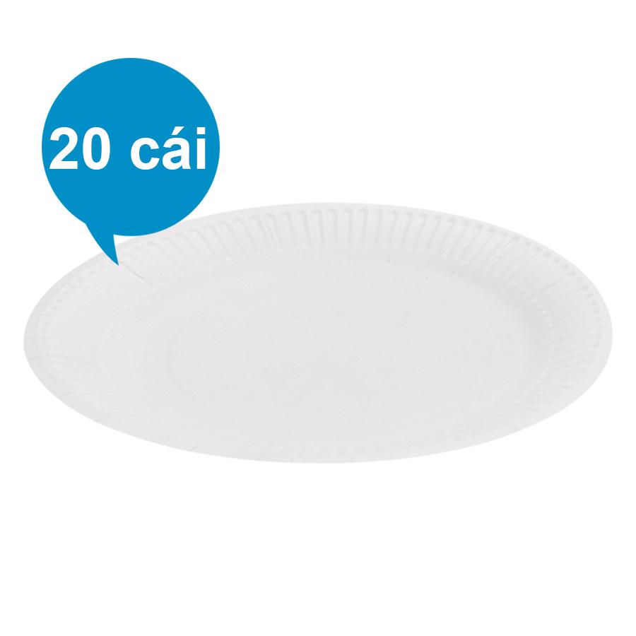 Lốc 20 Cái Dĩa Giấy PE FnB DT23 (23cm) - Trắng