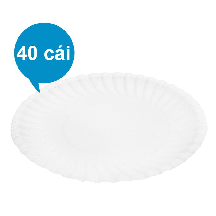 Lốc 40 Cái Dĩa Giấy PE FnB DT13 (13cm / Dĩa) - Trắng