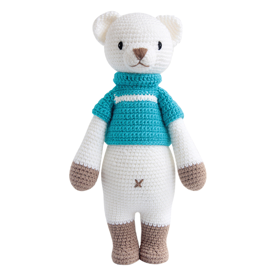 Thú Bông Gấu Bobbie Bobi Craft Đứng WT-209ACR-M-M (Trắng - Xanh)