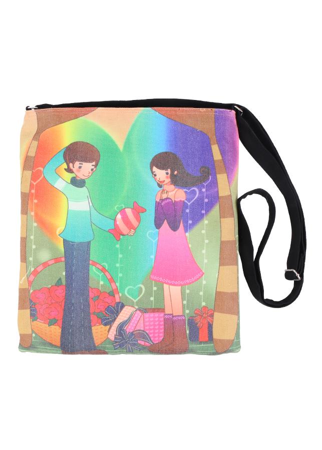 Túi Đeo Chéo In Họa Tiết Tặng Kẹo Xanh Canvas BSVMXC01152 (30 x 30 cm) - Đen