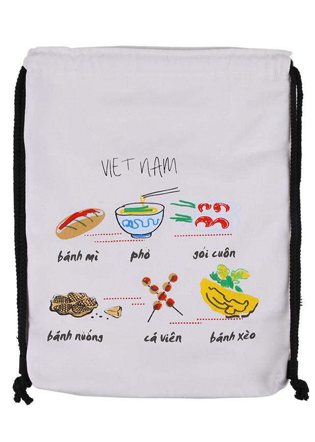 Balo Rút In Họa Tiết Food W Xanh Canvas BSVMXC01174 (35 x 48 cm) – Trắng