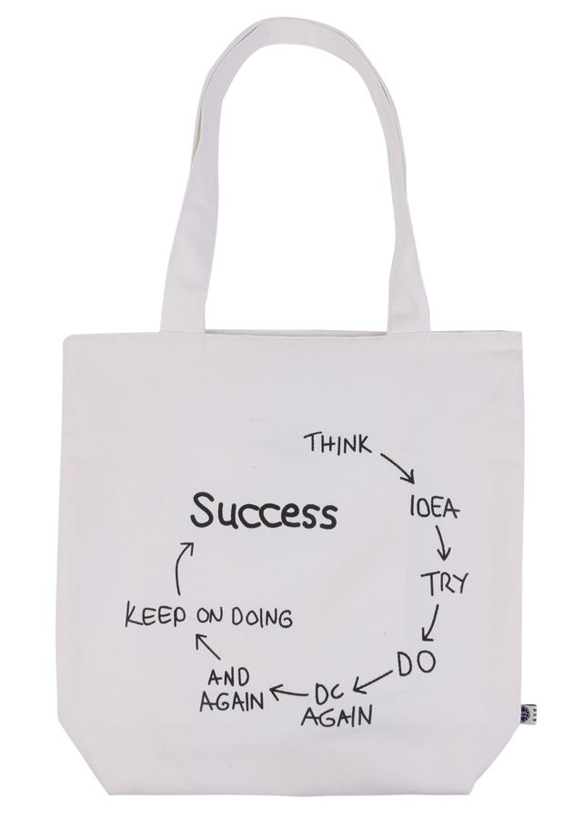 Túi Xách Vải Bố In Họa Tiết Success Xanh Canvas BSVMXC01176 (35 x 35 cm)  – Trắng