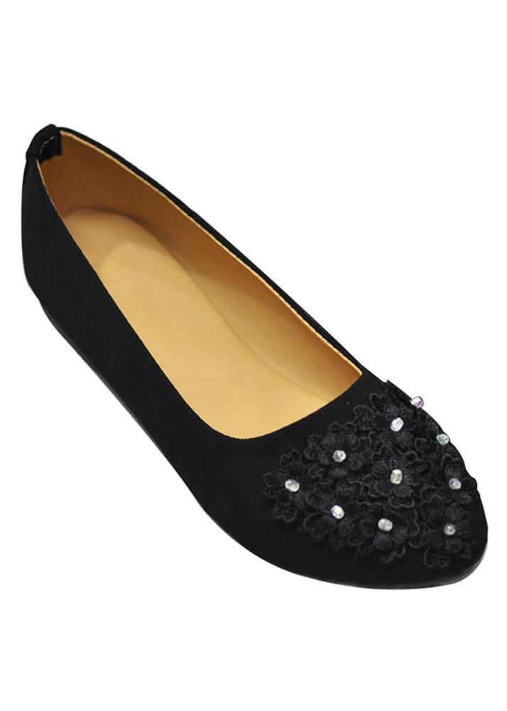 Giày Búp Bê Đính Hoa Me Girl 92280 - Đen