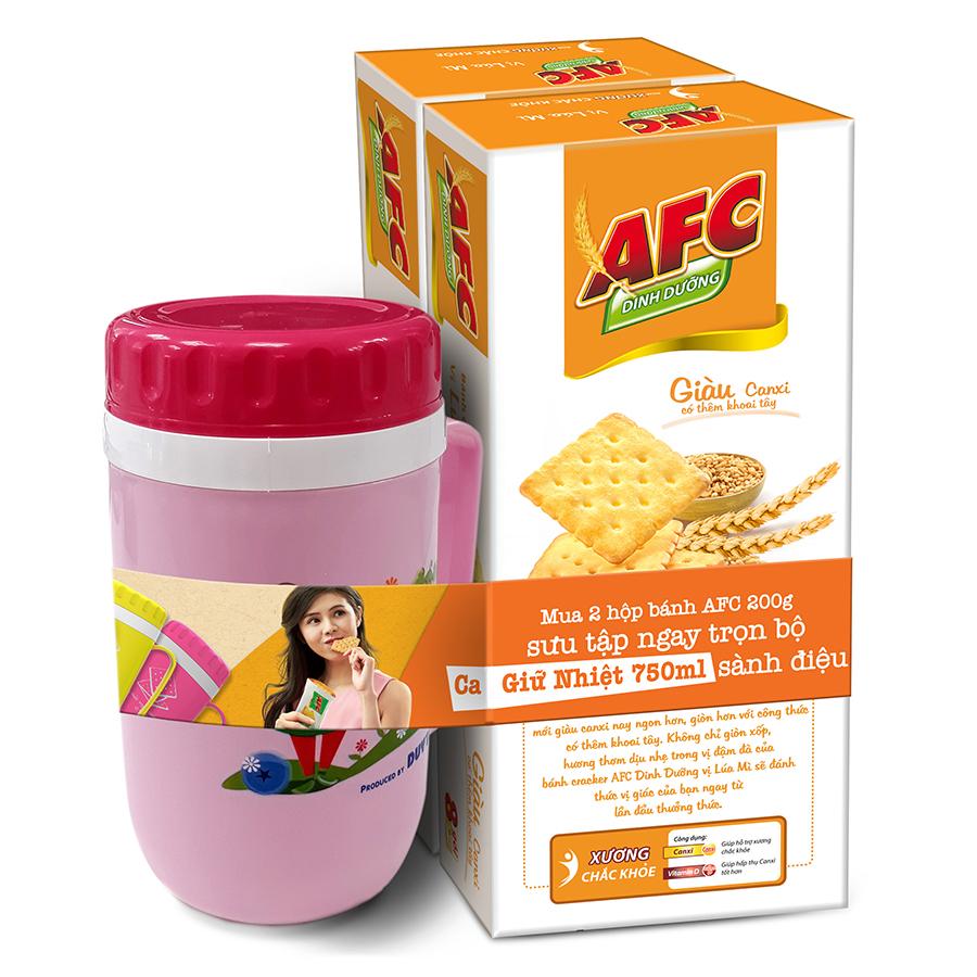 Combo 2 hộp Bánh Kinh Đô AFC Dinh Dưỡng Vị Lúa Mì Hộp 200g - Tặng Kèm 1 Ca Giữ Nhiệt 750ml