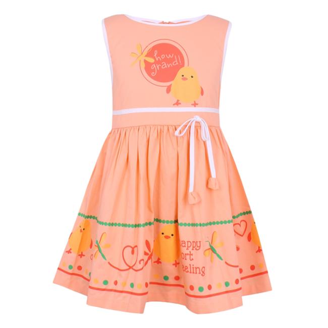 Đầm Bé Gái Phối Họa Tiết VTA Kids BG60804 - Cam